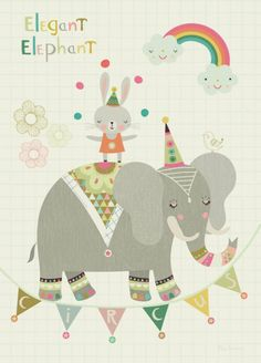 Petite Louise Petite Louise poster A4 circus olifant