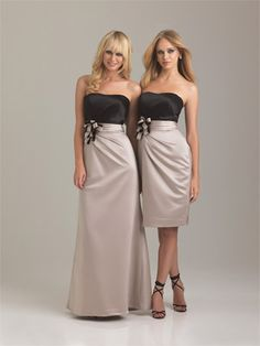 Allure Bridesmaids - 1281    This long, strapless satin dress features a ruched waistband with two-tone bow detail. You are able to order the bodice and skirt in any two colors from our Bridesmaid Collection.    Select your choice for the skirt color from the color pull down menu, advise your choice for the top/bodice color when placing your order  Estellesdressydresses.com