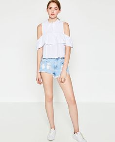 Image 1 of FRILLED CUT-OUT SHOULDER SHIRT from Zara