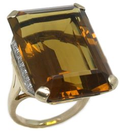 1940s 25ct Emerald Cut Citrine & Diamond 14k Yellow Gold Ring | New York Estate Jewelry | Israel Rose