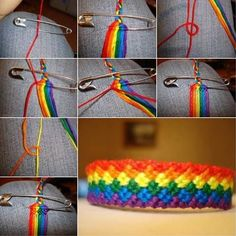 Like DIY Weave Rainbow Color Baubles Bracelet - Armband İdeas Yarn Bracelets, Bracelet Crafts, Jewelry Crafts, Jewelry Ideas, Knotted Bracelet, Handmade Jewelry, Jewelry Trends, Jewelry Accessories, Armband Diy