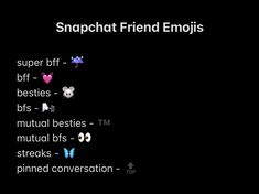 Snapchat Best Friends, Snapchat Friend Emojis, Friends Emoji, Snap Friends, Snapchat Streak Emojis, Snapchat Names, Instagram Quotes, Instagram Story, Snap Emojis