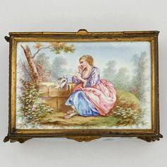 1552a2af33b Antique 19thc French Enamel on Copper Gilt Bronze Jewelry Casket Box