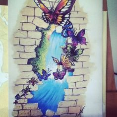 My painting finished scanned and printed :) #waterfall #art #nature #design #tattoo #artwork #drawing #pretty #butterflies #beautiful #earth #water #adventure #wanderlust #signature #carina #linnane #idea #inspiration #motivation #hobby #enjoy #life #happiness #calm #therapy #arttherapy