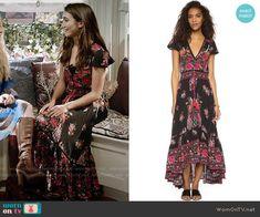 Riley's black floral maxi dress on Girl Meets World.  Outfit Details: https://wornontv.net/64081/ #GirlMeetsWorld