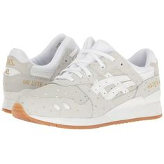 ASICS Tiger Gel-Lyte III (White/White) Women's Shoes (€105) ❤ liked on Polyvore featuring shoes, athletic shoes, genuine leather shoes, leather running shoes, athletic running shoes, laced up shoes and leather lace up shoes