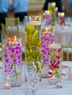 Submerged flowers with floating candles luau party украшение Hawaiian Luau Party, Hawaiian Theme, Luau Wedding Receptions, Wedding Decorations, Wedding Ideas, Wedding Tables, Wedding Cake, Luau Centerpieces, Centerpiece Ideas