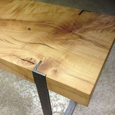wood steel table: