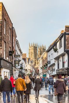 A street in York, England with a view of York Minster at Christmastime #york #yorkshire #christmas #england