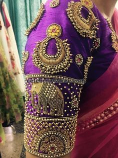 New model maggam work blouse designs - Alaska Сlick here pictures and get coupon Wedding Saree Blouse Designs, Silk Saree Blouse Designs, Blouse Neck Designs, Wedding Blouses, Blouse Patterns, Sleeve Designs, Saree Wedding, Silk Sarees, Wedding Bride