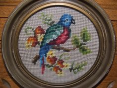 Antique Needlepoint Bird in Round Frame by lookonmytreasures on Etsy