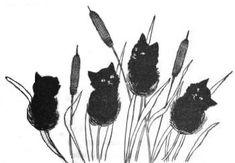 Fine Crop of Kitties (von LisaGenius) Schwarze Katze, 1896 - Kitty Cat Drawrings - Cat Crazy Cat Lady, Crazy Cats, I Love Cats, Cute Cats, Black Cat Art, Black Cats, Cat Whisperer, Guache, Here Kitty Kitty