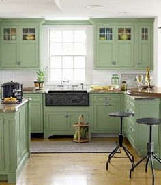 What A Pleasing Country Kitchen Design. The Sage Green Kitchen Cabinets Are  A Beautiful Color. And Donu0027t Miss The Custom Carved Apron Front Sink Made  Of ...