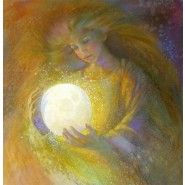 Belle Luna, drawing of woman holding the moon.