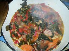 Kale, Kielbasa and Cannelloni soup