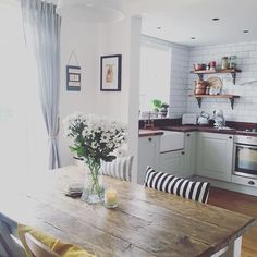 Really like the striped modern cushions against traditional table. Would look…