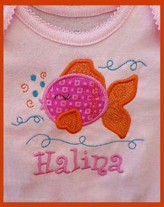 Fish applique machine embroidery design