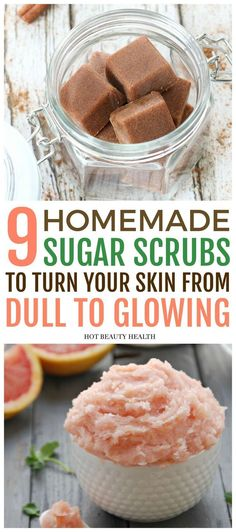 9 Easy DIY sugar scrub recipes for beautiful skin. These homemade body scrubs will turn your dry skin beautiful again during the fall and winter seasons. Choose from lemon, coconut, mint and more essential oils to make amazing scrubs at home! Body Scrub Recipe, Diy Body Scrub, Sugar Scrub Recipe, Diy Scrub, Sugar Scrub For Face, Sugar Scrub Homemade, Homemade Skin Care, Homemade Body Scrubs, Homemade Moisturizer