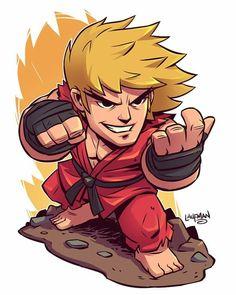 Chibi Ken Masters: Street Fighter by Laufman Cartoon Kunst, Comic Kunst, Cartoon Drawings, Cartoon Art, Cool Drawings, Comic Art, Ken Street Fighter, Street Fighter Characters, Flash Comics