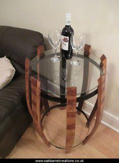 Bespoke oak & glass side table