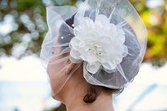'Enchanté' - Tulle Visor Veil with large flower accent