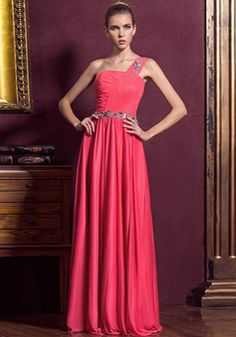 A line Floor Length One Shoulder Natural Waist Chiffon Evening Gowns With Sash/ Ribbon - 1300306029B - US$199.99 - BellasDress
