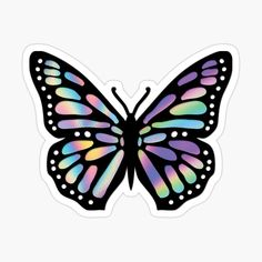 'Monarch Butterfly holograph foil' Sticker by Butterfly Sketch, Butterfly Project, Butterfly Art, Monarch Butterfly, Butterfly Stencil, Bubble Stickers, Cute Stickers, Arte Dope, Homemade Stickers