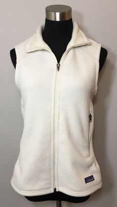 Patagonia Womens Size M Vest Synchilla Off White Zip Up Fleece Sleeveless Beige  | eBay