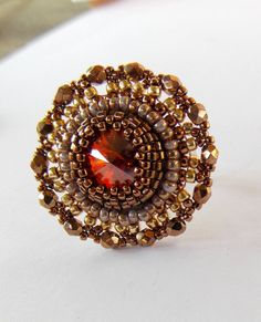Bead Embroidery  ring  Swarovski Gold  Bronze Chili by Vicus, $25.00