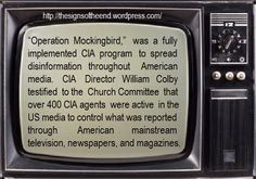 Operation Mockingbird. In 1989, a college-aged friend of mine's dad died. I learned then that not only was he a journalist for NBC, but he also worked for the CIA. I thought of that when I read this pin. 1989, not the 1950s, 1989.