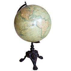 Rare 1884 French Terrestrial Globe | From a unique collection of antique and modern globes at https://www.1stdibs.com/furniture/more-furniture-collectibles/globes/