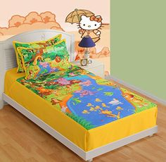 Yuga 100 Cotton Digitally Printed Fairy Friends Single Bed Sheet With Pillow Cover 350 TC 60 X 90 Inches >>> Details can be found by clicking on the image.