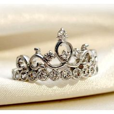 925 Sterling Silver Crown With Crystal Women's Ring