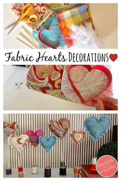 Use fabric scraps to sew easy DIY fabric heart decorations using polyfil and bbq skewers. Make cute home decor and tabletop Valentine's Day heart display. via @https://www.pinterest.com/dazzlefrazzled/ #valentinesday #easysewingprojects #valentinesdaycrafts