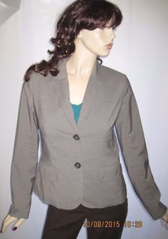Banana-Republic-Size-8-Stylish-Gray-Rayon-Blend-Button-Front-Blazer