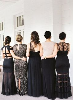 black mismatcthed long bridesmaid dresses / http://www.himisspuff.com/bridesmaid-dress-ideas/