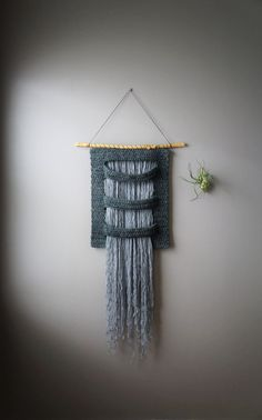 Woven Wall Hanging, Wool Tapestry, Bohemian Wall Hanging, Fringe Tapestry, Textile Art, Grey Weaving, Silver Gray Weave, Masculine Weaving