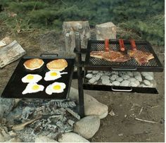 "This Campfire Grill is easy to use and perfect for any outdoorsman. Constructed of durable steel for many years of enjoyment. Grill Griddle Combo with a separate Charcoal Box. Campfire Grill. Griddle dimensions: 17.5"" x 19.5"". 