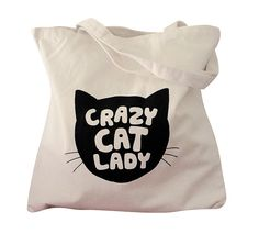Canvas Tote Bag  Crazy Cat Lady print on Natural door theboldbanana