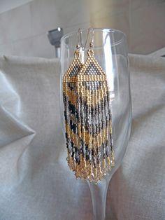 Boucles d'oreilles en perles Miyuki Boucles d'oreilles tissée main indien Navajo Bronze, doré et argenté Boucles d'oreilles : Boucles d'oreille par m-comme-maryna