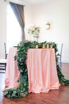 Pink + garland topped table: http://www.stylemepretty.com/virginia-weddings/spotsylvania-virginia/2016/01/07/rustic-elegant-summer-wedding-at-stevenson-ridge/ | Photography: Melissa Arlena - http://www.melissaarlenaphotography.com/