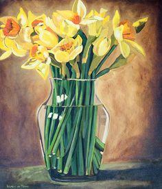 Title: Daffodils Medium: Oil paint on stretched canvas Size: x Stretched Canvas, Daffodils, Canvas Size, Still Life, Van, Medium, Artist, Painting, Artists