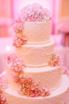 Classic Pink and White Wedding Cake
