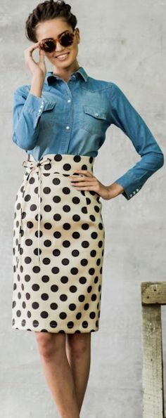 Nice combo of relaxed denim and neat pencil skirt.