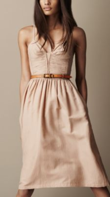 Burberry Ruched Bodice Silk Blend Dress