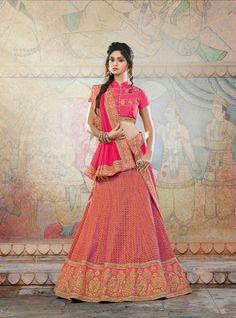 buy saree online Designer Pink Colour Jacquard and Silk Party Wear Lengha Choli Buy Saree online - Buy Sarees online