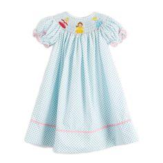 Princess Smocked Dress White & Turquoise Polka Dot