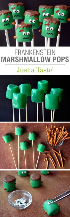 Frankenstein Marshmallow Pops #recipe via justataste.com
