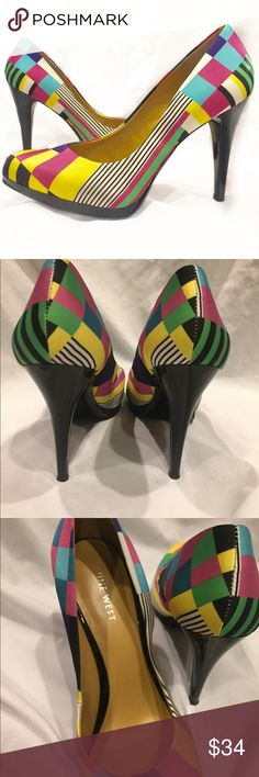 Nine west colorful textile pumps Colorful textile pattern pump heels. Show is in perfect condition - worn once. Sole is almost new except one small gravelly spot as shown in the picture. Nine West Shoes Heels
