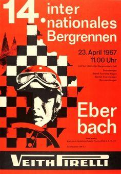 Eberbach Hill Climb Races 1967 Pirelli - original vintage car racing poster listed on AntikBar.co.uk